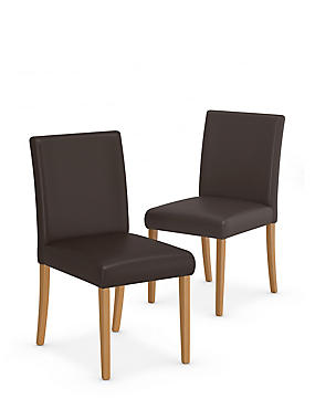 2 Tromso Faux Leather Dining Chairs, , catlanding