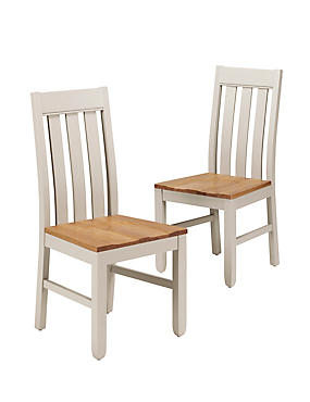 2 Padstow Slat-Back Dining Chairs, PUTTY, catlanding