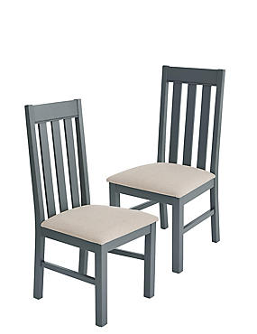 Set of 2 Padstow Grey Fabric Dining Chairs, , catlanding