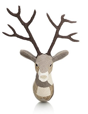 Patch Work Fabric Stag Head  , NATURAL MIX, catlanding