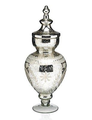 Tall Mercury Glass Bon Bon Jar, , catlanding