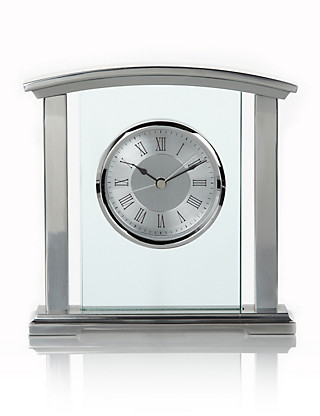 Chrome & Glass Mantle Clock Home