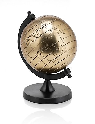 Small Metal Globe, ANTIQUE BRASS, catlanding