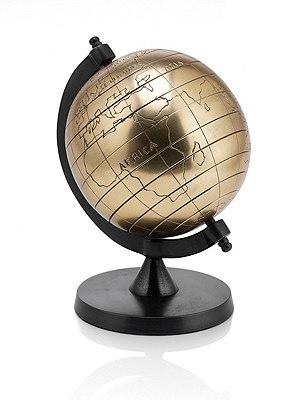 Small Metal Globe, ANTIQUE BRASS, catlanding