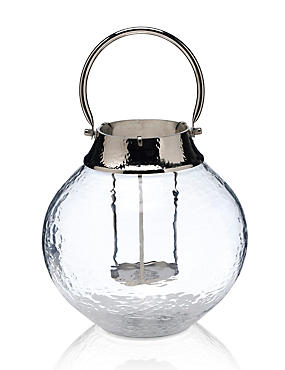 Large Mottled Glass Lantern, CLEAR, catlanding