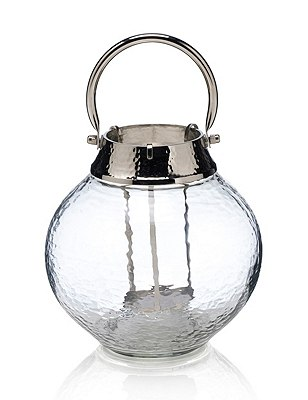Small Mottled Glass Lantern, CLEAR, catlanding