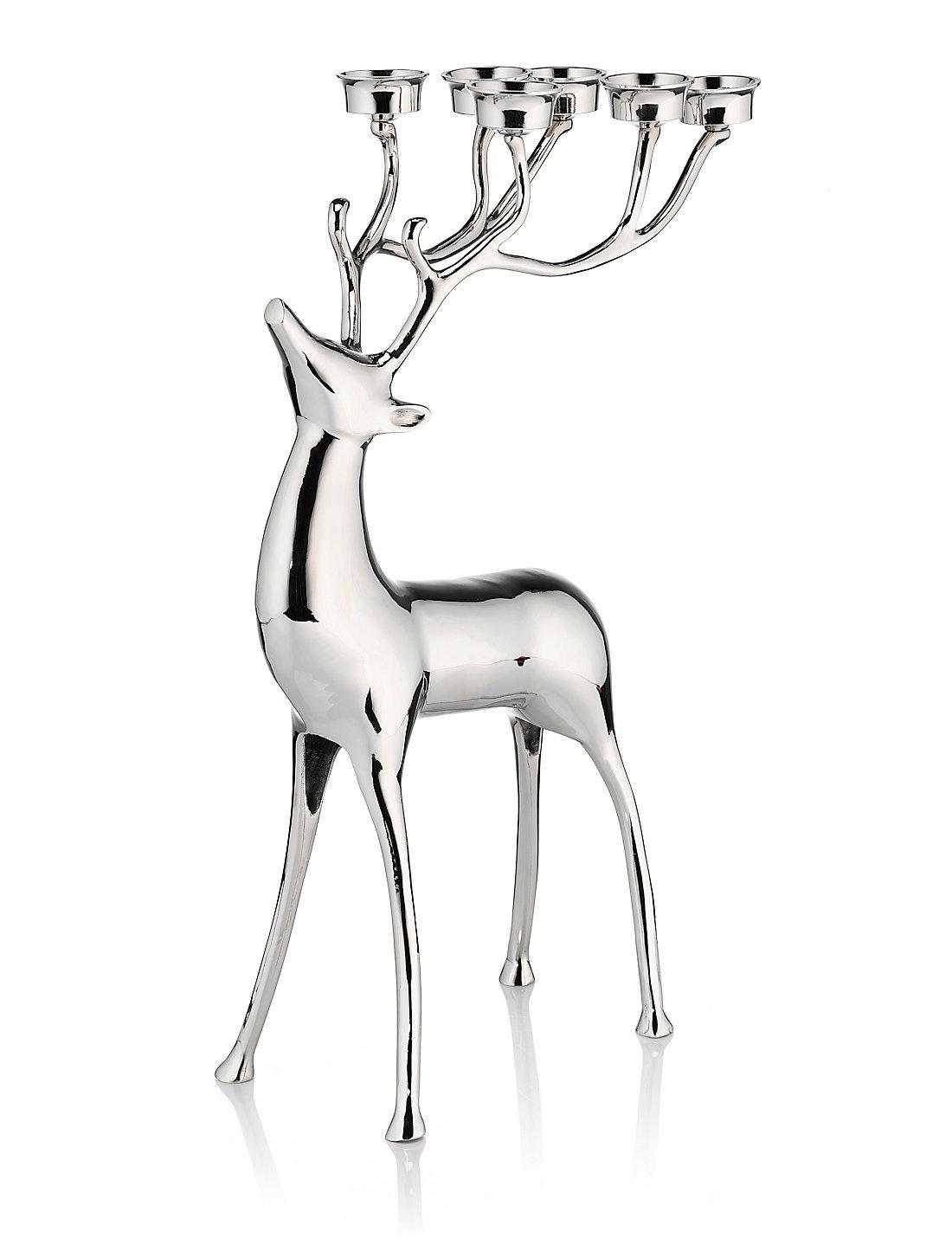 Tall Standing Reindeer Tealight Holder | M&S