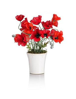 Artificial Wild Poppy in Ceramic Vase, , catlanding