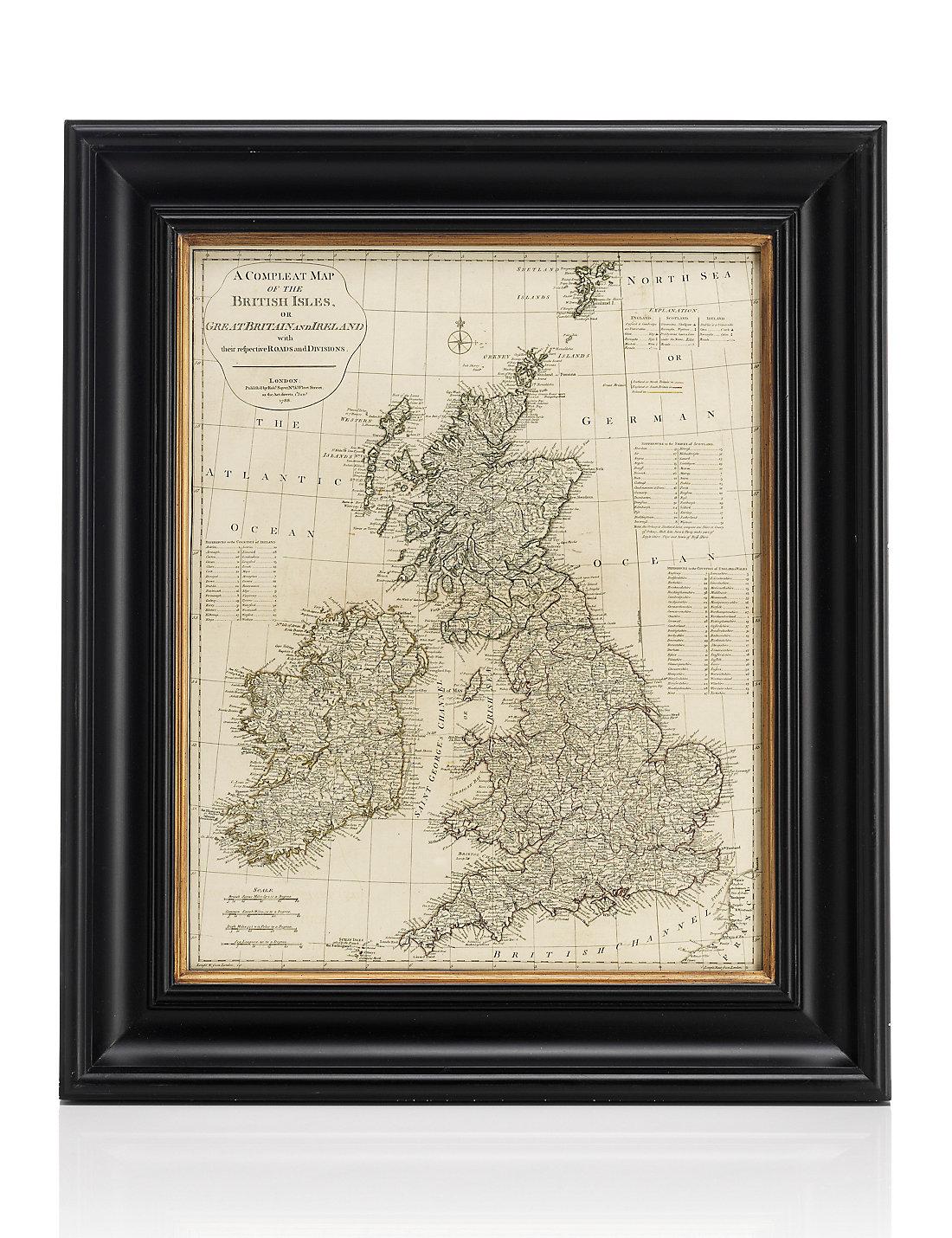 British Isles Framed Map Wall Art  MS