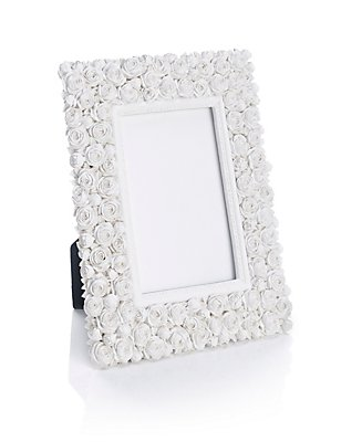 White Rose Photo Frame 10 x 15cm (4 x 6inch), , catlanding