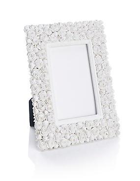 Cadre photo à motif roses blanches 10x15cm, , catlanding