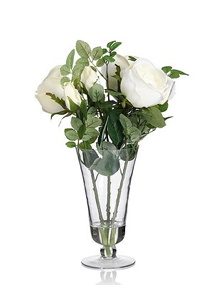 Artificial White Rose in Footed Vase, , catlanding