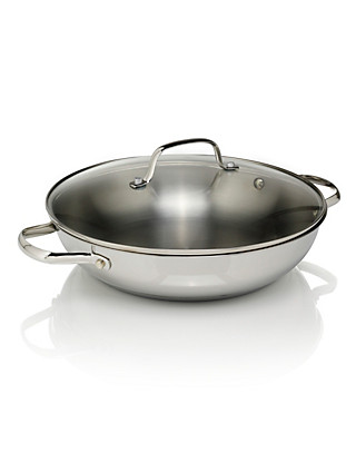 28cm Stainless Steel Shallow Wok Home