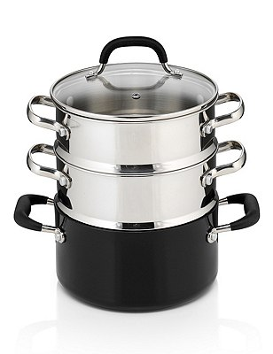 Black Aluminium 3-Tier Non-Stick Steamer, , catlanding