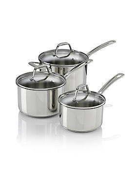 3 Piece Stainless Steel Saucepan Set, , catlanding