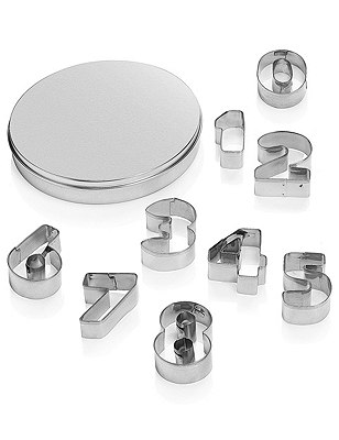 1-9 Numbers Cookie Cutters with Storage Tin, , catlanding