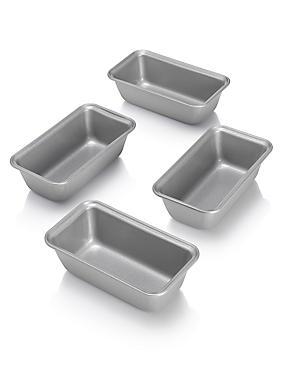 4 Non-Stick Mini Loaf Tins, , catlanding