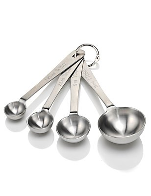 4 Stainless Steel Measuring Spoons, , catlanding