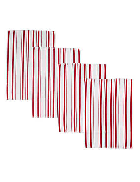 4 Basket Weave Tea Towels, RED MIX, catlanding