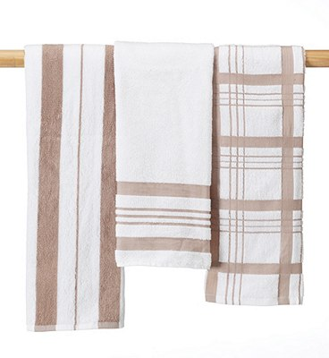 3 Checked Hand Towels, , catlanding