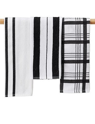 3 Checked & Striped Hand Towels, , catlanding