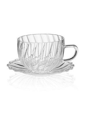 Pretty Glass Cup & Saucer Set, , catlanding