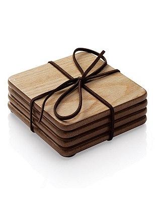 4 Wood Veneer Coasters, , catlanding