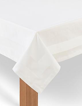 Nova Non-Iron Tablecloth, IVORY, catlanding