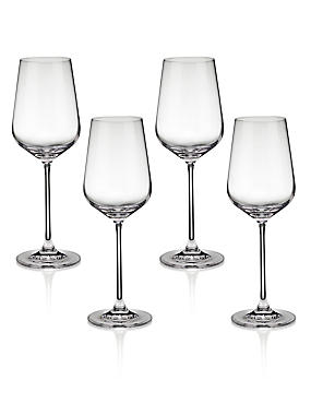4 Nova White Wine Glasses, , catlanding