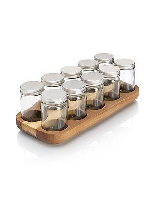 10 Acacia Bottle Spice Rack, , catlanding