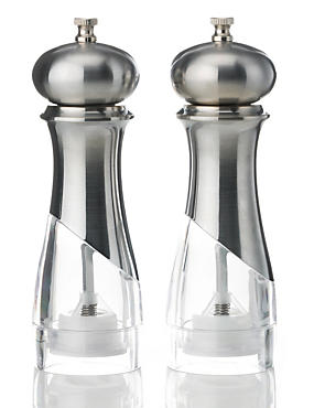 2 New York Salt & Pepper Mills, SILVER, catlanding