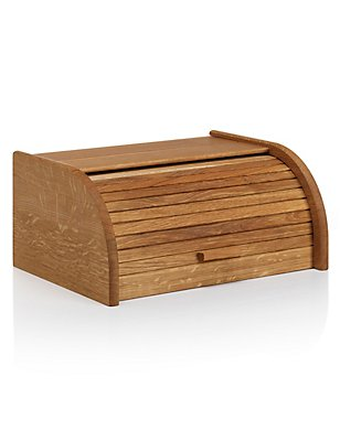 Oak Slatted Bread Bin, , catlanding