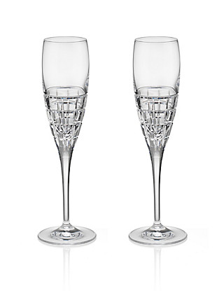 2 Linear Champagne Glasses Home