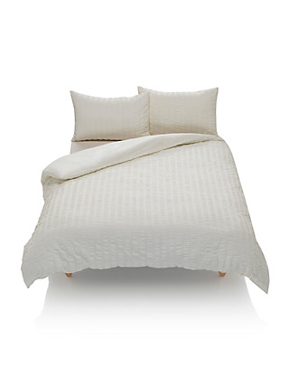 Wide Striped Seersucker Bedding Set Home
