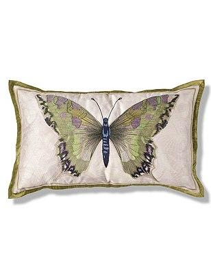 Botanical Butterfly Print Cushion, GREEN MIX, catlanding