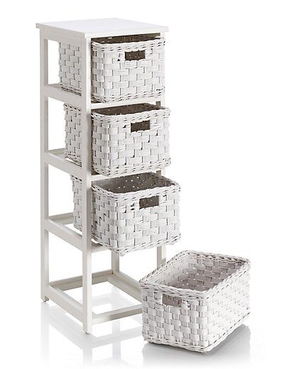 White Rattan 4 Tier Storage Unit Home Mouse Over To Zoom