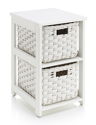 White Rattan 2 Tier Storage Unit Home Mouse Over To Zoom