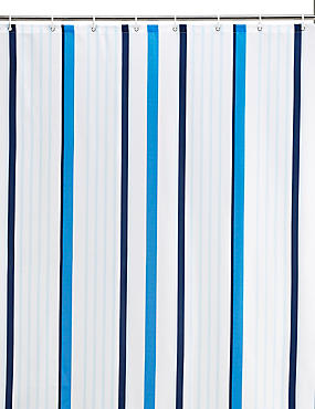 Thin Stripe Nautical Shower Curtain, BLUE MIX, catlanding