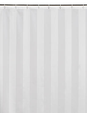 Woven Regency Stripe Shower Curtain, CREAM, catlanding
