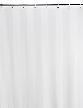 Woven Regency Stripe Shower Curtain, WHITE, catlanding