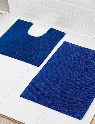 Cotton Bobble Bath Pedestal Mats, BLUE, catlanding