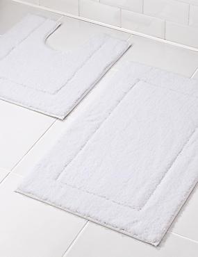 Tapis de bain et contour lavabo/WC à séchage rapide, BLANC, catlanding
