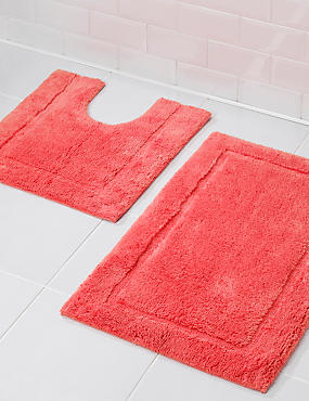 Pure Egyptian Cotton Bath Mat (£19.50) & Pedestal mats (£15), SOFT CORAL, catlanding