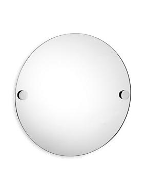 Contemporary Chrome Round Mirror, , catlanding