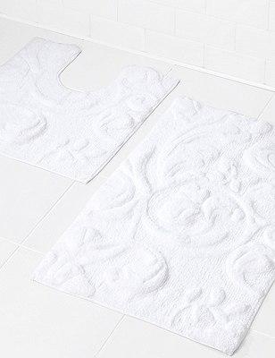 Embossed Swirl Bath Mat, WHITE, catlanding