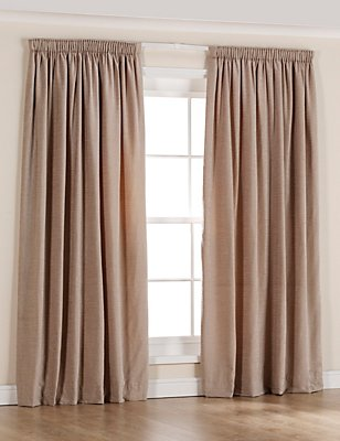 Chenille Thinsulate™ Pencil Pleat Curtains, ANTIQUE GOLD, catlanding