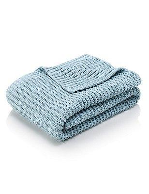 Chenille Knitted Throw, DUCK EGG, catlanding