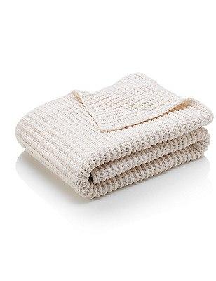 Chenille Knitted Throw, CREAM, catlanding