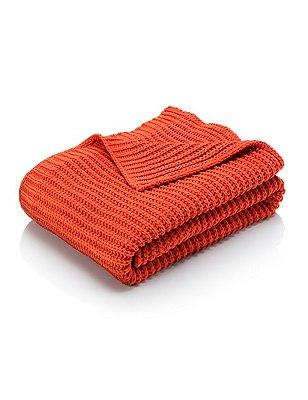Chenille Knitted Throw, TERRACOTTA, catlanding