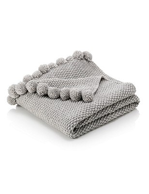 Pom-Pom Throw, GREY, catlanding
